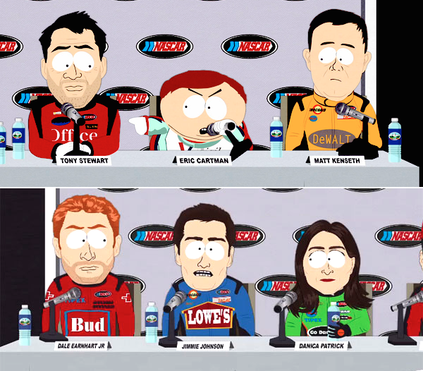 21 NASCAR dale earnhardt jr jimmie stewart danica patrick tony stewart matt kenseth  - south park athlete parodies - sports figures parodied on south park.jpg