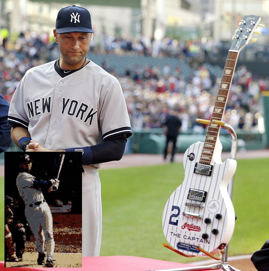 4 Derek Jeter retirement gifts - Cleveland Indians pinstripe guitar (July 10)