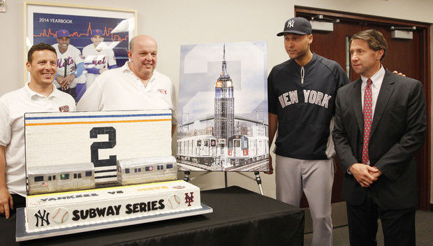 5 Derek Jeter retirement gifts - New York Mets Subway Series cake and painting and subway tile mosaic (May 15)