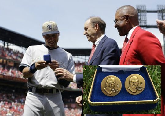 6 Derek Jeter retirement gifts - St. Louis Cardinals Stan Musial cufflinks + donation (May 26)