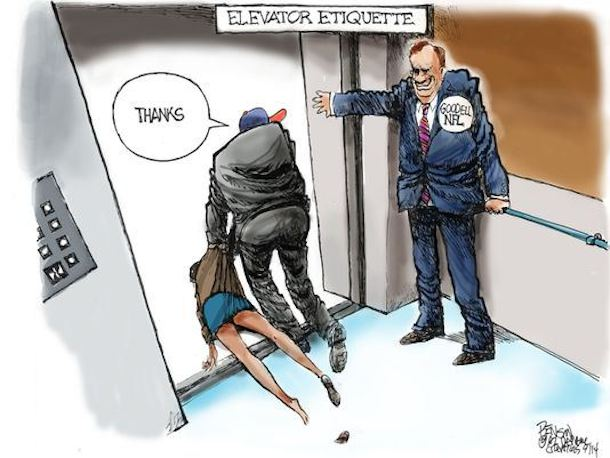 Arizona Republic editorial cartoon Roger Goodell holding elevator door for Ray Rice