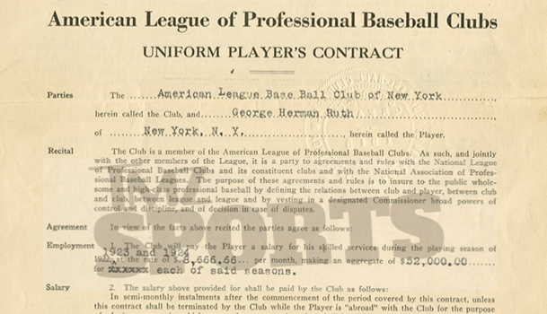 Babe Ruth Red Sox contract