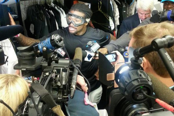 DeAngelo Williams wearing goggles