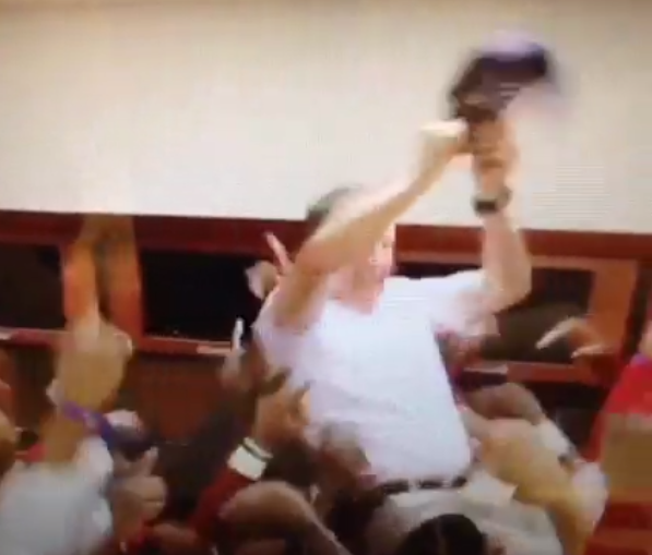 Georgia Southern Coach Goes Goes Nuts Celebrating Win (Video)