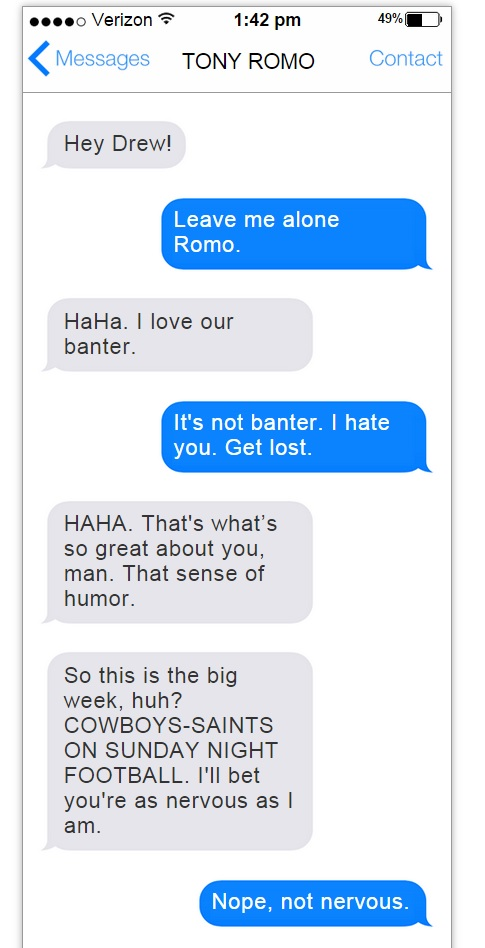 Tony Romo-Drew Brees text convo