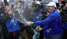 Rory McIlroy Champagne Bottle Goes Off Prematurely (Video)