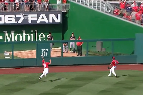 amazing steven souza catch saves zimmerman no-hitter