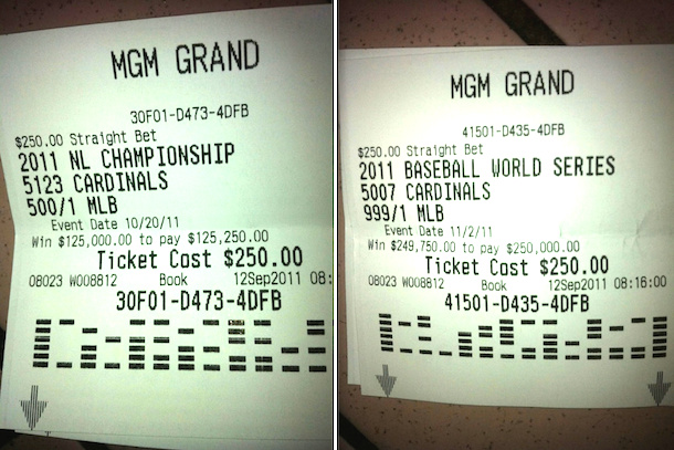 cardinals fan bets on 2011 world series - biggest sports bets payouts