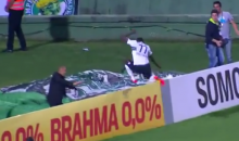 Celebration Fail: Coritiba Striker Falls Down Stairwell After Game-Clinching Goal (Video)