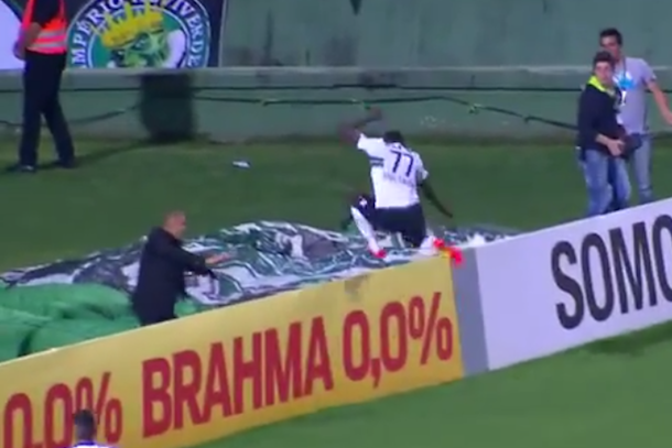 coritiba striker falls down stairwell celebrating a goal