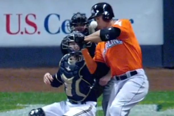 Giancarlo Stanton Hit in the Face
