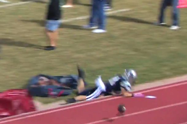 high school football player faceplant