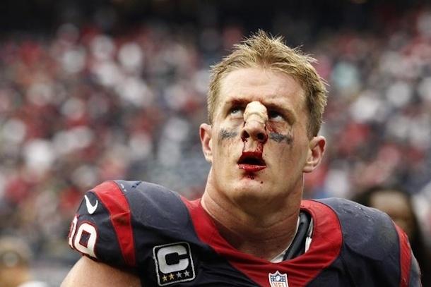 j.j. watt bloody nose