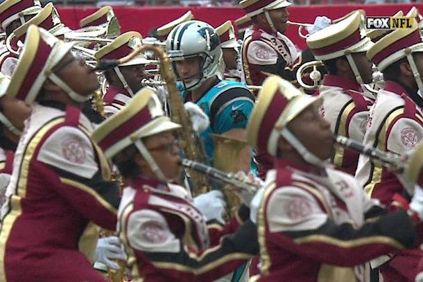 panthers kicker shoves marching band