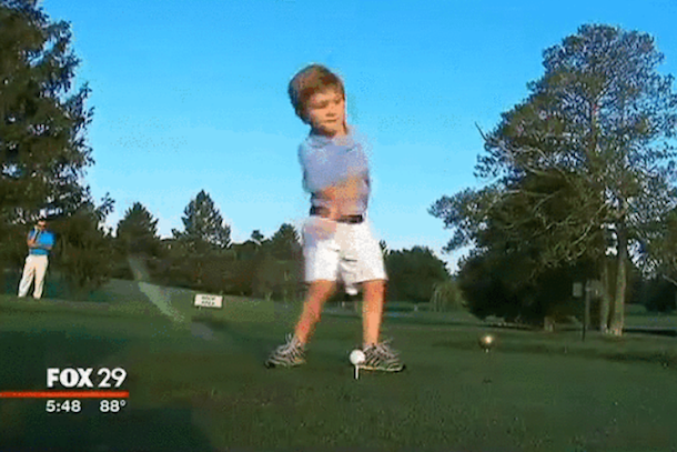 three-year-old golfer with one arm tommy morrissey