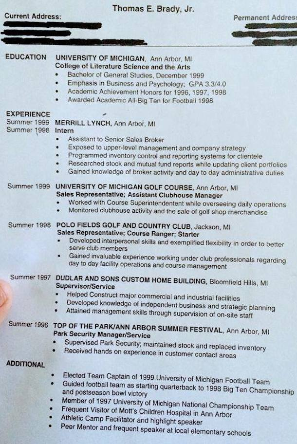 Tom Brady Resume Circa 1999 Shows What Might Have Been | Total Pro ...