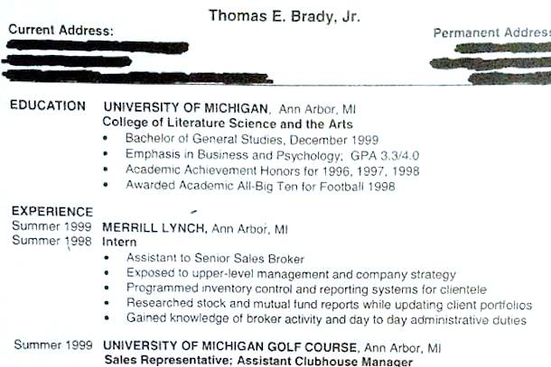 tom brady resume circa 1999 shows what might been