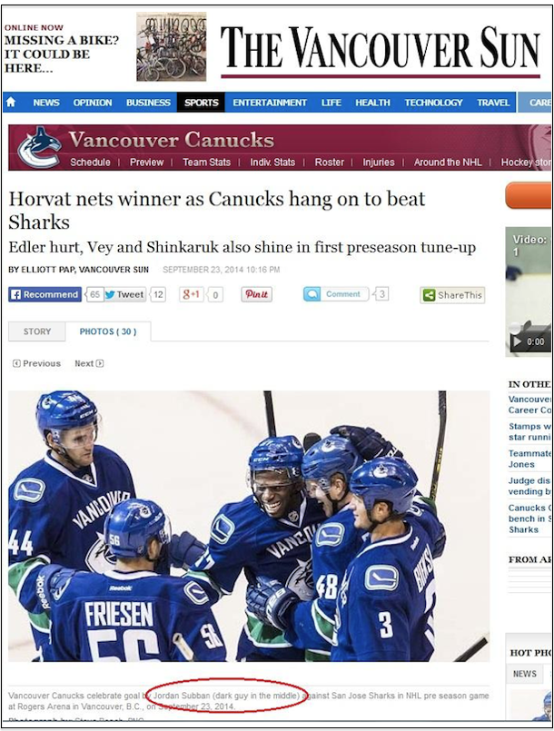 vancouver sun apologizes for racist photo caption jordan subban dark guy in the middle