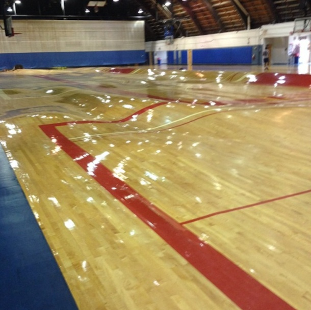 Burst pipes create warped gym floor just like 39 the for Making a basketball court