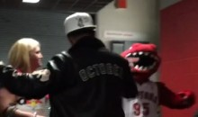 Drake Seen Hugging Raptors Mascot Before Opening Game (Video)