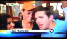 Giants Fan Has Funny Reaction to 'F*ck Her Right in the P*ssy' Videobomber (Video)