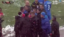 Bulgarian Soccer Manager Gets Clocked and Knocked Over by a Snowball (Video)