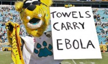 "Jaguars Mascot Takes Heat for Anti-Steelers Sign that Said ""Towels Carry Ebola"" (Pic)"