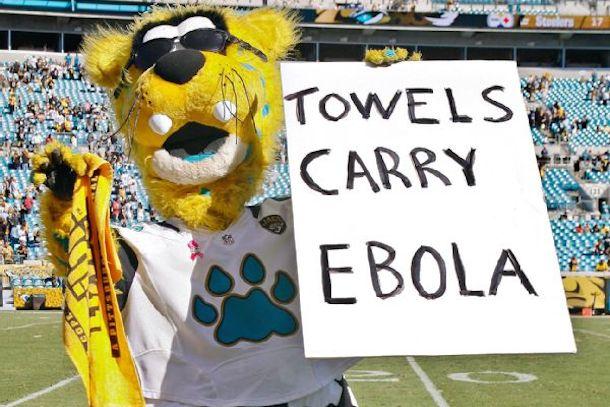 jacksonville jaguars mascot towels carry ebola sign