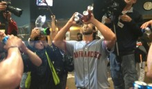 Epic Performances Deserves Epic Celebrations, So Madison Bumgarner Chugs Four Beers at Once (Video)