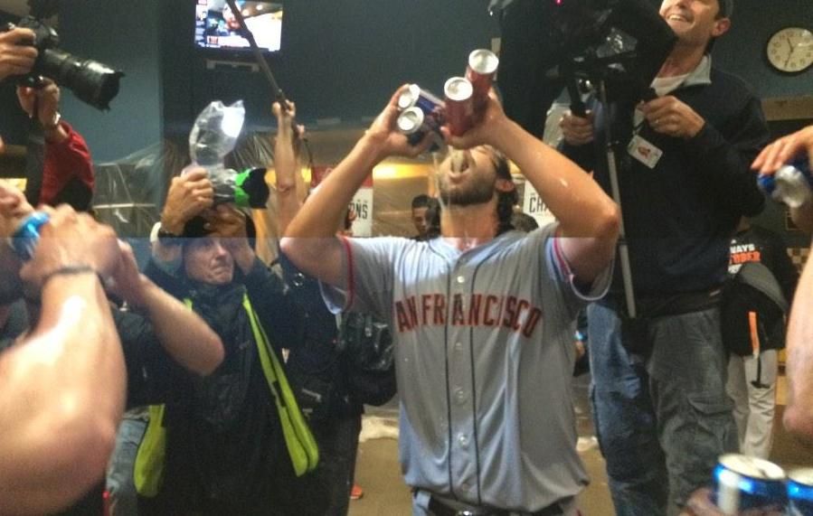 madison bumgarner chugs four beers