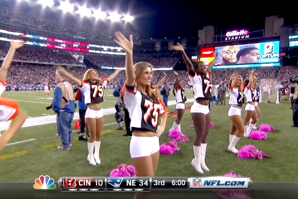 patriots cheerleaders wearing devon still jerseys (patriots cheerleaders wore devon still jerseys)
