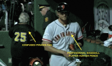 Random Old Lady Wanders Into the Giants Dugout During NL Wild Card Game (GIF)