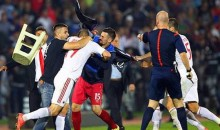 Serbia-Albania Brawl: Violence and Mayhem Erupts During Euro 2016 Qualifier When Drone Aircraft Flies Albanian Flag Over Pitch (Videos + Pics)