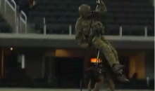 A Navy Seal and a Dog Rappelled from the Roof of Cowboys Stadium Sunday (Video)