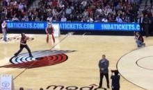 Blazers Fan Gives Us This Horrible Half Court Shot Last Night (Video)