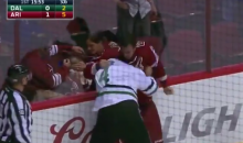 Hockey Fight Causes Mom to Cover Her Daughter's Eyes in the Stands (Video)