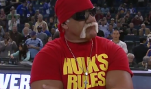 Hulk Hogan Pumps Up Fans at Warriors Game for Reasons Unknown (Video)