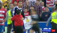 Cristiano Ronaldo Hugged by a Pitch Invader Who Hangs on Like Grim Death (Video)