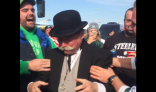 The Monopoly Guy Did a Keg Stand Tailgating at the Jets Game (Video)