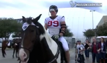 JJ Watt Rides a Horse Named JJ Watt. One of Them Was Wearing a Texans Uniform. (Video)