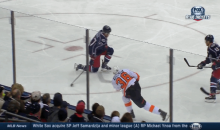 Slap Shot to the Groin Leaves Columbus' Dalton Prout in Pain (GIF)