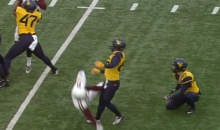 WVU Kicker Hit in the Junk During Block Attempt (Video)