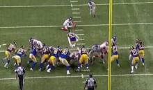 Rams Linebacker Daren Bates Leaps Over Center to Block Giants Field Goal (Video)