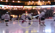 Little Kid Gets Clotheslined During Warmup Skate at Oshawa Generals Game (Video)