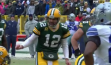 Aaron Rodgers Yells Out 'New York Bozo' as an Audible at the Line (Video)