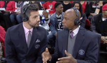 Fan Flips Off the Camera Behind the CBS College Basketball Crew (GIF)
