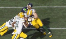 Russell Wilson Drilled By Clay Matthews Following INT in NFC Championship (GIF)