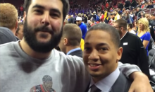 Cavs Coach Tyronn Lue Poses with Sixers Fan Wearing Iverson Stepover T-Shirt (Pic + Video)