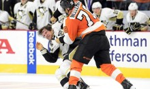 Flyers-Penguins Rivalry Gets Ugly: Boarding Major Leads to Four Fights 66 Penalty Minutes (Videos)