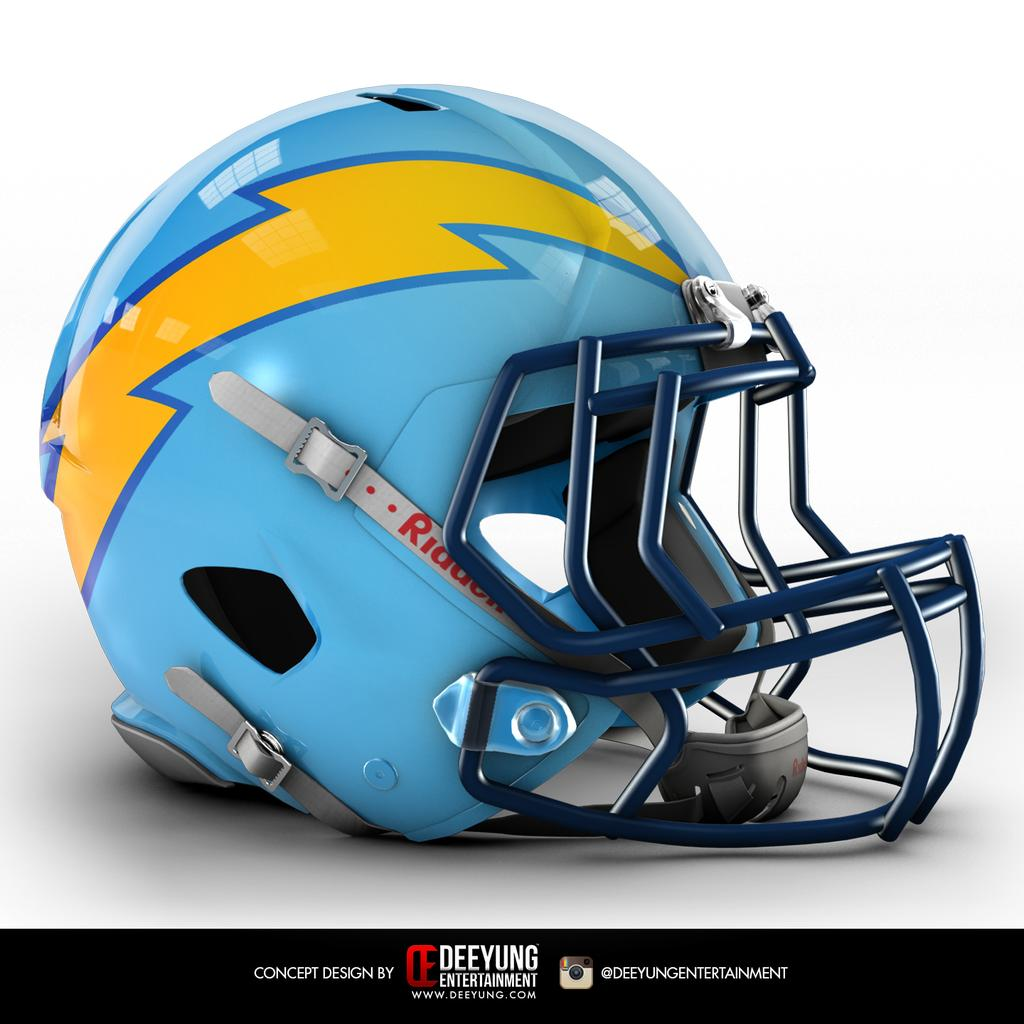 San Diego Chargers Colors: Total Pro Sports Design Company Recreates NFL Helmets For